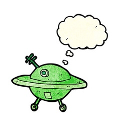 Cartoon flying saucer with thought bubble vector