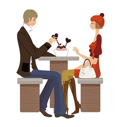 Couple sitting in cafe vector image vector image
