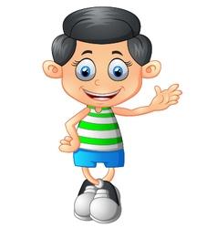 Cute boy cartoon posing vector image vector image