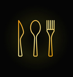 Cutlery golden linear icon vector