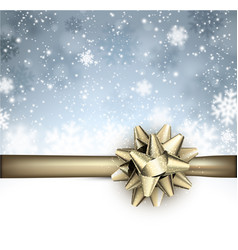 Festive winter background with golden bow vector
