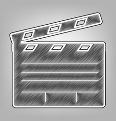 Film clap board cinema sign pencil sketch vector