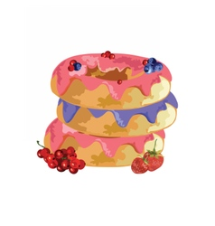 Fruit jam donuts with berry syrup vector