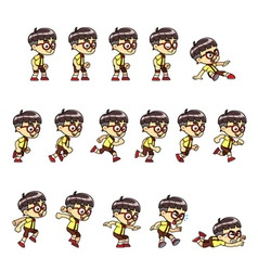 Geeky boy game sprites vector