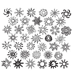 hand drawn suns set vector image vector image