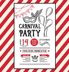 Invitation carnival party flyertypography and vector