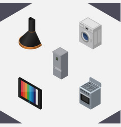 Isometric technology set of laundry television vector