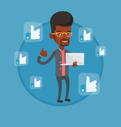man with thumb up and like social network buttons vector image