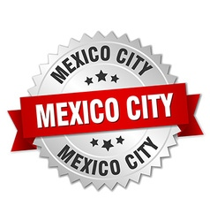 Mexico city round silver badge with red ribbon vector