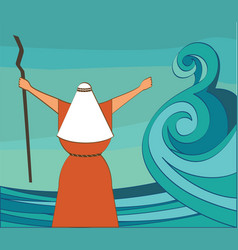 mozes splitting the red sea and ordering let my vector image vector image