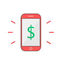 Red outline phone with dollar mark vector