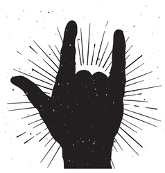 Rock hand sign grung silhouette vector image