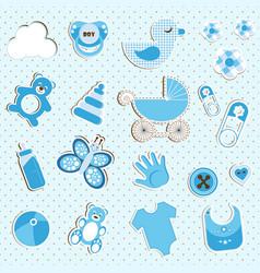 Scrapbook set of baby boy things vector