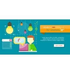 Search for solutions banner person working vector