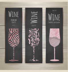 Set of art wine glass banners and labels design vector