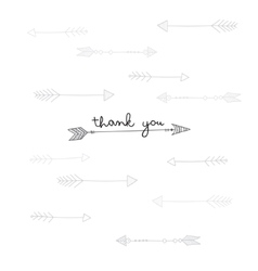 Thank you card with ethnic arrows in tribal style vector image vector image