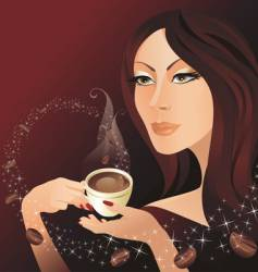 the girl and coffee vector image