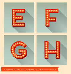 Vintage light bulb sign letters e f g h vector