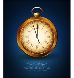 Vintage pocket watch on a blue background vector