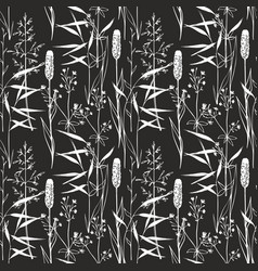 wildflowers seamless gentle pattern on a black vector image