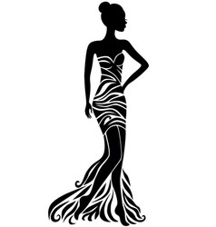 young woman in dress with floral ornament vector image