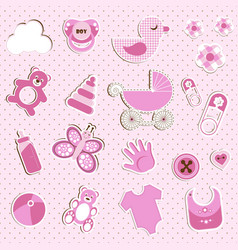 Scrapbook set of baby girl things vector