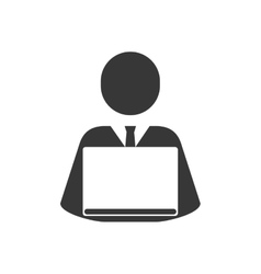 Businessman laptop silhouette icon graphic vector