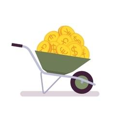 Wheelbarrow full of coins vector image