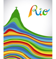 Rio Brazil color text and landmark for sport games vector image