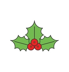 Christmas holly flat line icon vector