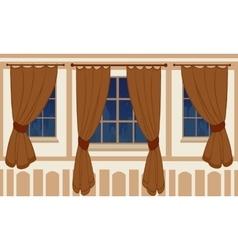 Interior design of windows in urban apartment vector