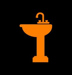Bathroom sink sign orange icon on black vector