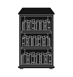 Bookcase with books icon in black style isolated vector