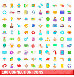 100 connection icons set cartoon style vector image