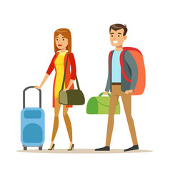 Tourists couple with travel bags people traveling vector