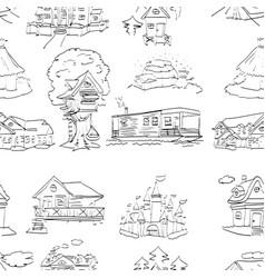 Habitation set seamless pattern design vector