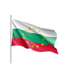 Bulgaria national flag with a circle of eu vector