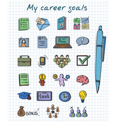 Sketch colored career development elements set vector