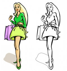 shopping women with a bag vector image