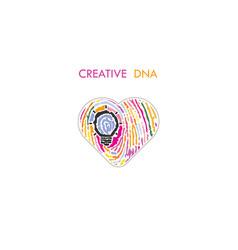creative light bulb idea concept and fingerprint vector image
