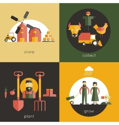 Farm flat set vector