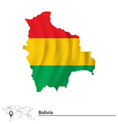 Map of bolivia with flag vector
