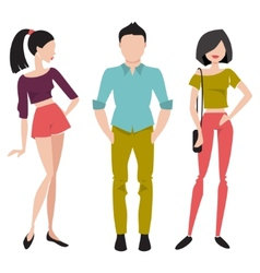 Young people in fashionable clothes flat vector