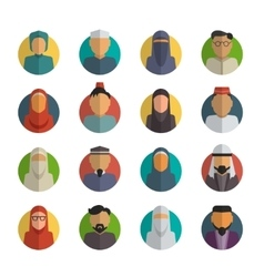 Middle eastern people flat icons set muslim male vector