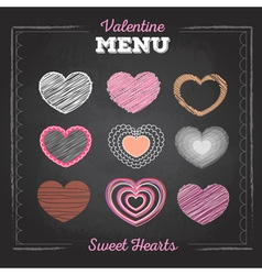 Set of valentine love hearts chalk drawing vector