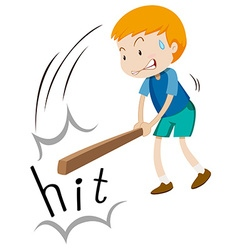 Boy with wooden stick hitting vector