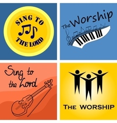 Four musical logo for the church and worship vector