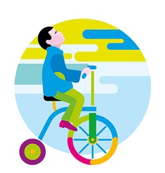 Boy on a winged bicycle vector