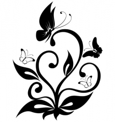 Butterfly plant vector