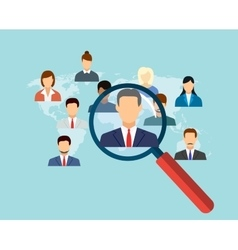 magnifying glass for choosing the right person vector image